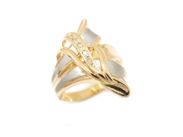 【中古】ジュエリー ダイヤモンド リング 指輪 ユニセックス K18YG(750) イエローゴールド x PT 900 x ダイヤモンド   JEWELRY リング ブランドオフ BRANDOFF 美品 ボーナス