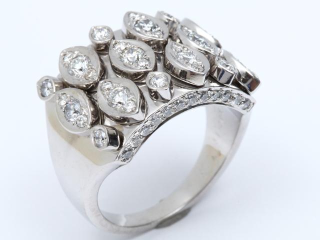 【中古】ジュエリー ダイヤモンド リング 指輪 レディース K18WG(750) ホワイトゴールド x ダイヤモンド(1.49ct)   JEWELRY リング ブランドオフ BRANDOFF 美品 ボーナス