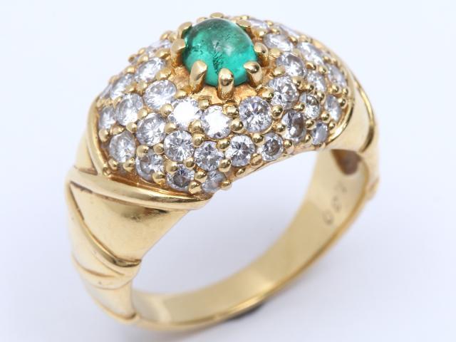 【中古】ジュエリー エメラルド ダイヤモンド リング 指輪 レディース K18YG(750) イエローゴールド x エメラルド(0.49ct)x ダイヤモンド(1.30ct) | JEWELRY リング ブランドオフ BRANDOFF 美品 ボーナス