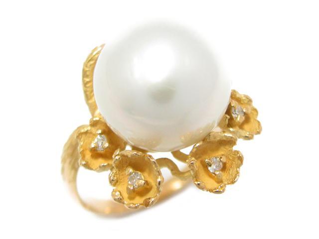 【中古】ジュエリー パール 真珠 リング 指輪 ユニセックス K18YG(750) イエローゴールド x パール (13.3mm) x ダイヤモンド (0.11ct) | JEWELRY リング ブランドオフ BRANDOFF 美品 ボーナス