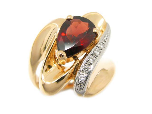 【中古】ジュエリー ガーネット リング 指輪 ユニセックス K18YG(750) イエローゴールド x PT900 プラチナ x ガーネット x ダイヤモンド (0.04ct) | JEWELRY リング ブランドオフ BRANDOFF 美品 ボーナス