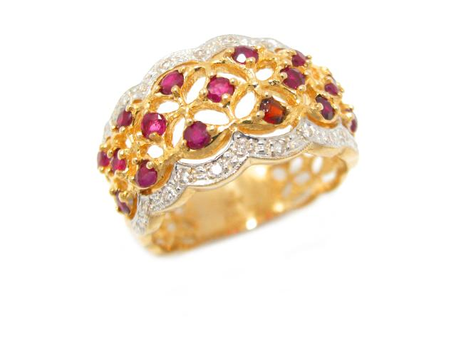 【中古】ジュエリー ルビー リング 指輪 石目なし ユニセックス K18YG(750) イエローゴールド x K18WG ホワイトゴールド x ルビー (石目なし) x ダイヤモンド | JEWELRY リング ブランドオフ BRANDOFF 美品 ボーナス