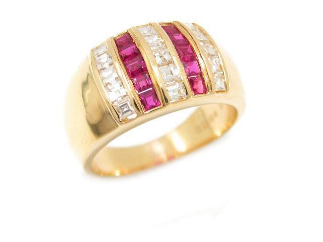 【中古】ジュエリー ルビー リング 指輪 ユニセックス K18YG(750) イエローゴールド x ルビー (0.57ct) x ダイヤモンド (0.64ct) | JEWELRY リング ブランドオフ BRANDOFF 美品 ボーナス