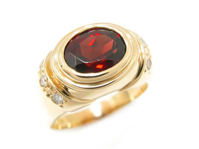 【中古】ジュエリー ガーネット リング 指輪 ユニセックス K18YG(750) イエローゴールド x ガーネット (3.30ct) x ダイヤモンド (0.18ct) | JEWELRY リング ブランドオフ BRANDOFF 美品 ボーナス