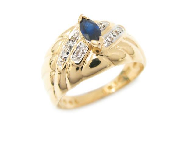 【中古】ジュエリー サファイア リング 指輪 ユニセックス K18YG(750) イエローゴールド x サファイア (0.30ct) x ダイヤモンド (0.04ct)   JEWELRY リング ブランドオフ BRANDOFF 美品 ボーナス