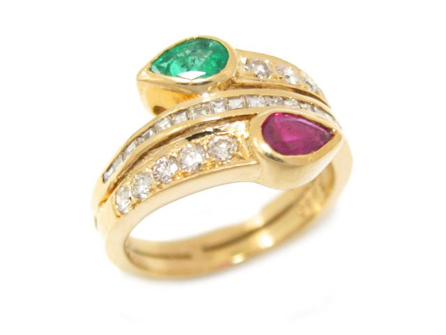 【中古】ジュエリー ダイヤモンド ルビー エメラルド リング 指輪 ユニセックス K18YG(750) イエローゴールド x ダイヤモンド (0.65ct) x ルビー (0.46ct) x エメラルド (0.35ct) | JEWELRY リング ブランドオフ BRANDOFF 美品 ボーナス