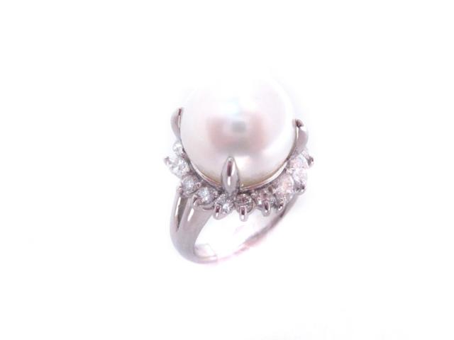 【中古】ジュエリー パール リング 指輪 レディース PT900 プラチナ x パール(12.7mm) x ダイヤモンド(1.00ct) シルバー | JEWELRY リング ブランドオフ BRANDOFF 美品 ボーナス