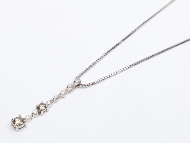 【中古】【送料無料】ジュエリー ダイヤモンド ネックレス レディース K18WG(750) ホワイトゴールド x ダイヤモンド(0.35ct/0.15ct) | JEWELRY ネックレス美品 ブランドオフ 美品 BRANDOFF ボーナス