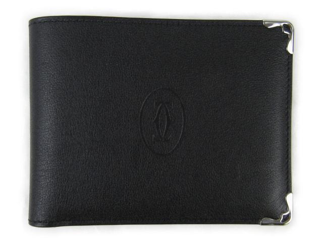 【中古】カルティエ マスト ドゥ カルティエ ウォレット カボション 2つ折財布メンズ レディース 牛革(カーフ) ブラック (L3001369)   Cartier 財布 二つ折り 美品 ブランド ブランドオフ BRANDOFF