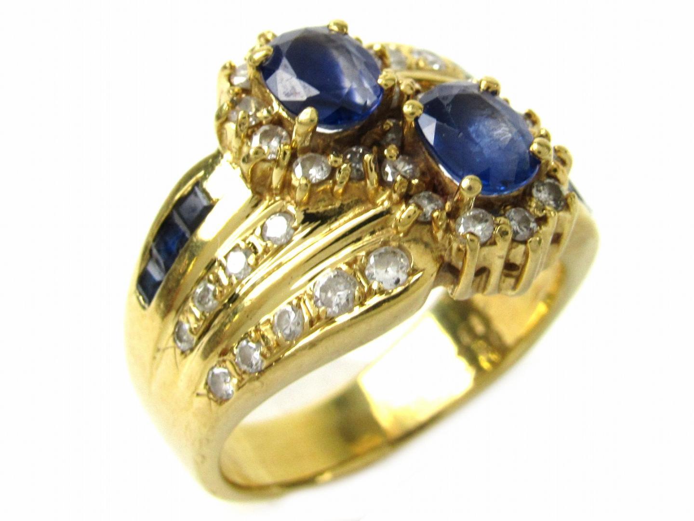 【中古】ジュエリー サファイア ダイヤモンド リング 指輪 レディース K18YG(750) イエローゴールドxサファイア1.32/ダイヤモンド0.42ctx0.62ct | ブランドオフ BRANDOFF ボーナス