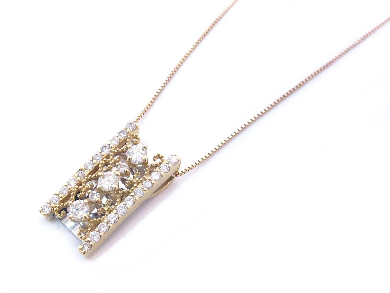 【中古】【送料無料】ジュエリー ダイヤモンド ネックレス レディース K18YG(750) イエローゴールド x K18WG ホワイトゴールド x ダイヤモンド(0.80ct) | JEWELRY ネックレス美品 ブランドオフ 美品 BRANDOFF ボーナス