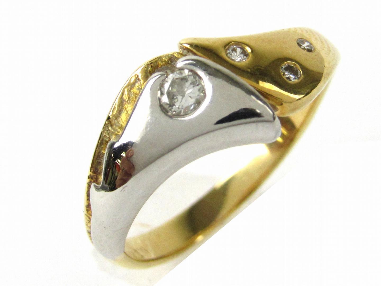 【中古】ジュエリーダイヤモンド リング 指輪 レディース K18WG(750) ホワイトゴールドxK18YGxダイヤモンド0.12ct | JEWELRY リング美品 ブランドオフ 美品 BRANDOFF ボーナス