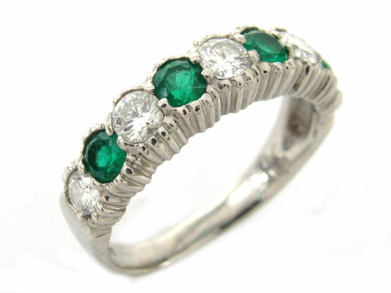 【中古】ジュエリー エメラルド ダイヤモンド リング 指輪 レディース PT900 プラチナxエメラルド0.45/ダイヤモンド0.57ct | ブランドオフ BRANDOFF ボーナス