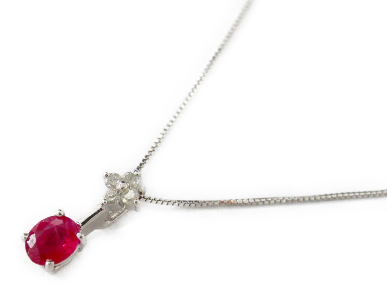 【中古】ジュエリー ルビー ダイヤモンド ネックレス レディース K18WG(750) ホワイトゴールド x ルビー0.31/ダイヤモンド0.05ct | JEWELRY ネックレス美品 ブランドオフ 美品 BRANDOFF ボーナス