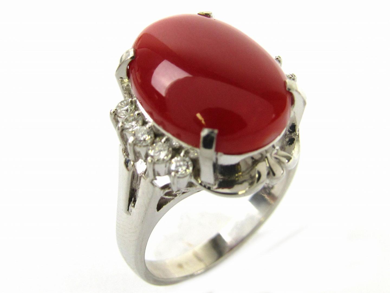 【中古】ジュエリー サンゴ ダイヤモンド リング 指輪 レディース PT900 プラチナxサンゴxダイヤモンド0.23ct | ブランドオフ BRANDOFF ボーナス