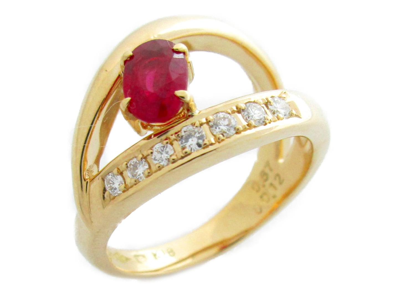 【中古】【送料無料】ジュエリー ルビー ダイヤモンド リング 指輪 レディース K18YG(750) イエローゴールド×ルビー(0.67ct)×ダイヤモンド(0.12ct) | JEWELRY リング美品 ブランドオフ 美品 BRANDOFF ボーナス