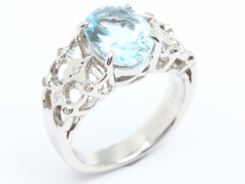 【中古】【送料無料】ジュエリー アクアマリン ダイヤモンド リング 指輪 レディース PT900 プラチナ x アクアマリン(2.5ct) x ダイヤモンド(0.10ct) | JEWELRY リング美品 ブランドオフ 美品 BRANDOFF ボーナス