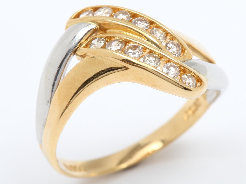 【中古】ジュエリー ダイヤモンド リング 指輪 レディース PT900 プラチナ x K18YG 750 イエローゴールド x ダイヤモンド(0.30ct)   JEWELRY リング美品 ブランドオフ 美品 BRANDOFF ボーナス