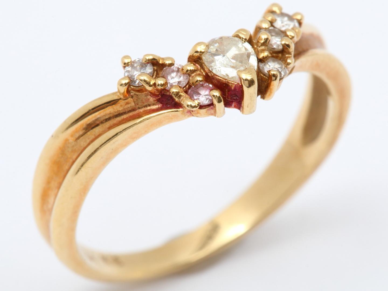 【中古】ジュエリー ダイヤモンド リング 指輪 レディース K18YG(750) イエローゴールド x ダイヤモンド(0.24ct) | JEWELRY リング美品 ブランドオフ 美品 BRANDOFF ボーナス