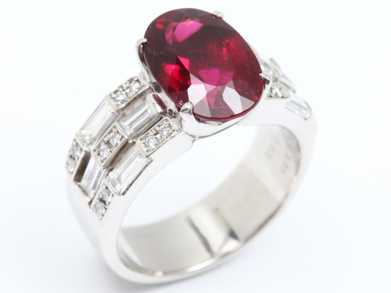 【中古】【送料無料】ジュエリー ルベライト ダイヤモンド リング 指輪 レディース PT900 プラチナ x ルベライト(3.974ct) x ダイヤモンド(1.00ct) | JEWELRY リング美品 ブランドオフ 美品 BRANDOFF ボーナス