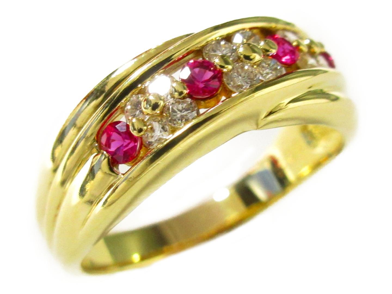 【中古】【送料無料】ジュエリー ルビー ダイヤモンド リング 指輪 レディース K18YG(750) イエローゴールド×ルビー(0.26ct)×ダイヤモンド(0.31ct) | JEWELRY リング美品 ブランドオフ 美品 BRANDOFF ボーナス