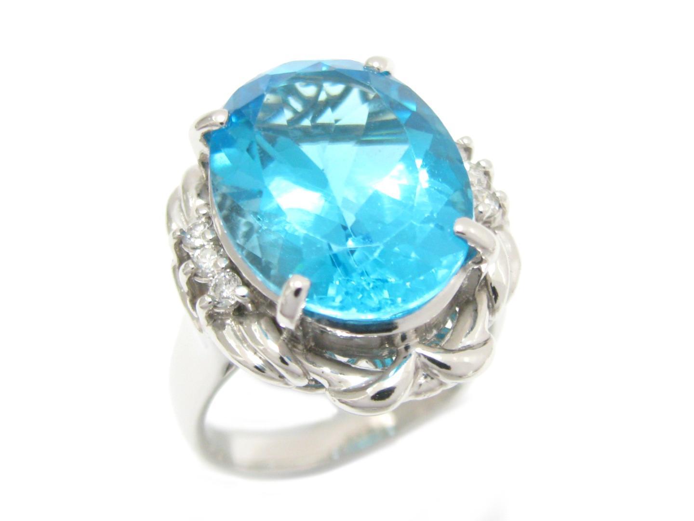【中古】【送料無料】ジュエリー ブルートパーズ リング 指輪 メンズ レディース PT900 プラチナ x ブルートパーズ (11.23ct) x ダイヤモンド (0.14ct) | JEWELRY リング美品 ブランドオフ 美品 BRANDOFF ボーナス
