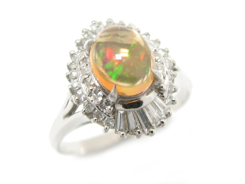 【中古】【送料無料】ジュエリー オパール リング 指輪 メンズ レディース PT900 プラチナ x オパール (0.90ct) x ダイヤモンド (0.33ct) | JEWELRY リング美品 ブランドオフ 美品 BRANDOFF ボーナス