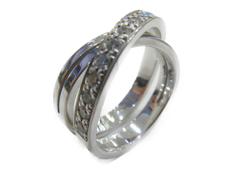 カルティエ 指輪 シルバー レディース Cartier K18WG(750) ダイヤリング 美品 | ホワイトゴールド ブランド ブランドオフ ドゥ エタンセル リング 【中古】【送料無料】カルティエ BRANDOFF