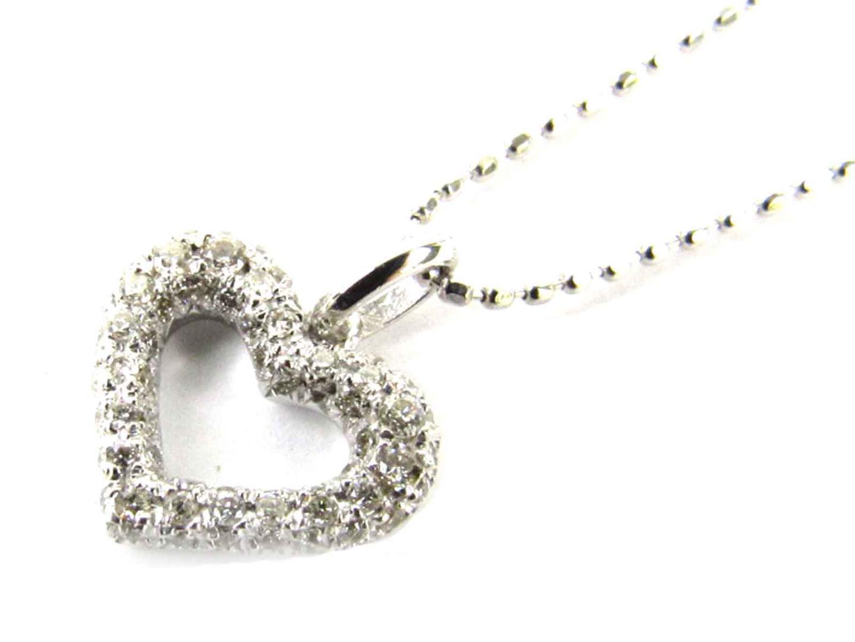 ジュエリー ハート ダイヤモンド ネックレス レディース K18WG(750) ホワイトゴールド x ダイヤモンド(0.20ct) | ブランドオフ BRANDOFF ボーナス
