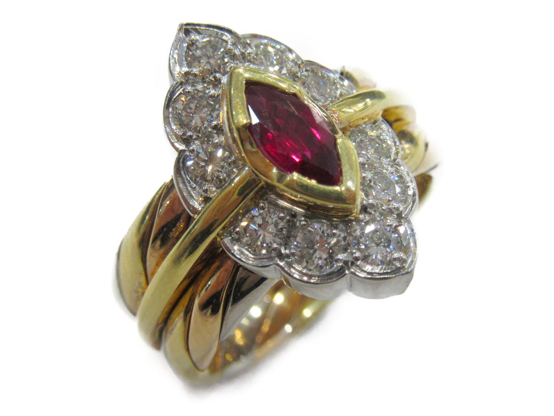 【中古】【送料無料】ジュエリー ルビー ダイヤモンドリング 指輪 レディース K18YG(750) イエローゴールド x ルビー(0.421ct) x ダイヤモンド(0.57ct)× Pt900 | JEWELRY リング 美品 ブランドオフ BRANDOFF