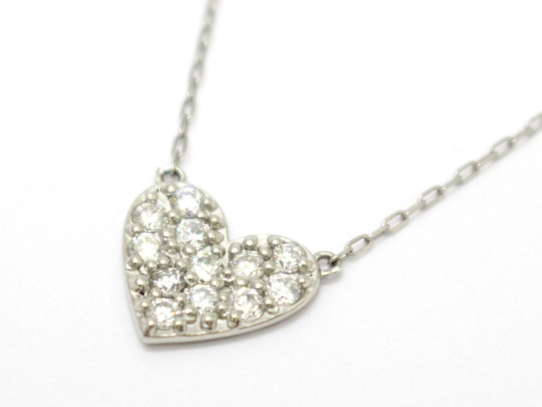 ジュエリー ダイヤモンド ハート ネックレス レディース PT900 プラチナ×PT850×ダイヤモンド(0.30ct) | ブランドオフ BRANDOFF ボーナス
