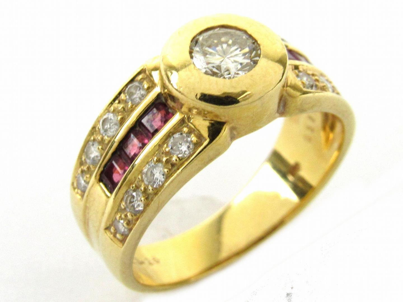【中古】【送料無料】ジュエリー ルビー ダイヤモンド リング 指輪 レディース K18YG(750) イエローゴールドx0.43/0.26/0.38ct | JEWELRY リング 美品 ブランドオフ BRANDOFF