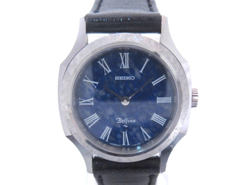 ウォッチ SEIKO x ベルフィナ レディース 手巻き時計 (17-0820) BRANDOFF | ブランドオフ 美品 【中古】セイコー 手巻き時計 レザーベルト ステンレススチール(SS) ブラック ブランド