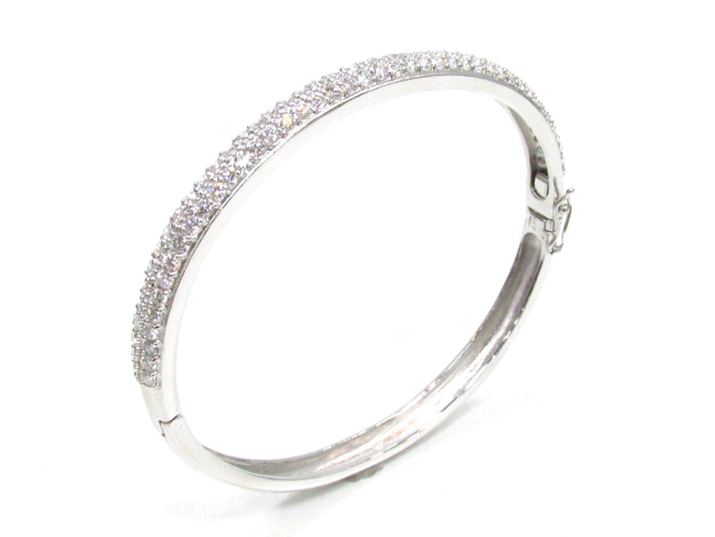 【中古】【送料無料】ジュエリー ダイヤモンド バングル K18WG(750) ホワイトゴールド×ダイヤモンド(3.26ct) | JEWELRY バングル メンズ レディース 美品 ブランドオフ BRANDOFF