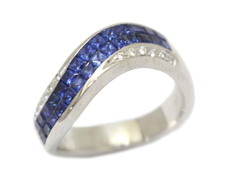 【中古】【送料無料】ジュエリー サファイア ダイヤモンド リング 指輪 レディース K18WG(750) ホワイトゴールド×サファイア(0.63ct)×ダイヤモンド(0.06ct) ブルー×クリアー | JEWELRY リング 美品 ブランドオフ BRANDOFF