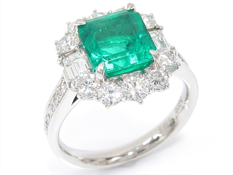 【中古】【送料無料】ジュエリー エメラルドリング 指輪 レディース PT900 プラチナxエメラルド(2.53ct)xダイヤモンド(1.57ct) | JEWELRY リング 美品 ブランドオフ BRANDOFF