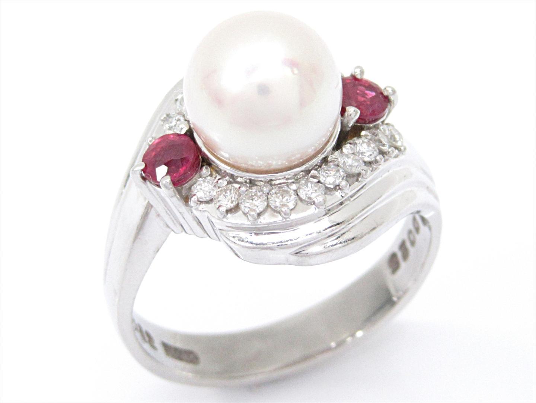 【中古】【送料無料】ジュエリー パールリング 指輪 レディース PT900 プラチナxパールxダイヤモンド(0.25ct)xルビー(0.32ct) | JEWELRY リング 美品 ブランドオフ BRANDOFF