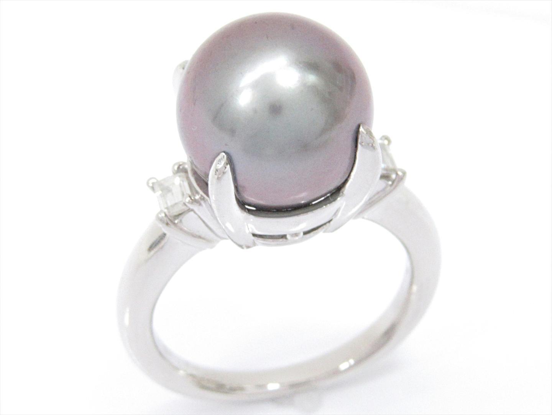 【中古】【送料無料】ジュエリー パールリング 指輪 レディース PT900 プラチナxパールxダイヤモンド(0.17ct) | JEWELRY リング 美品 ブランドオフ BRANDOFF