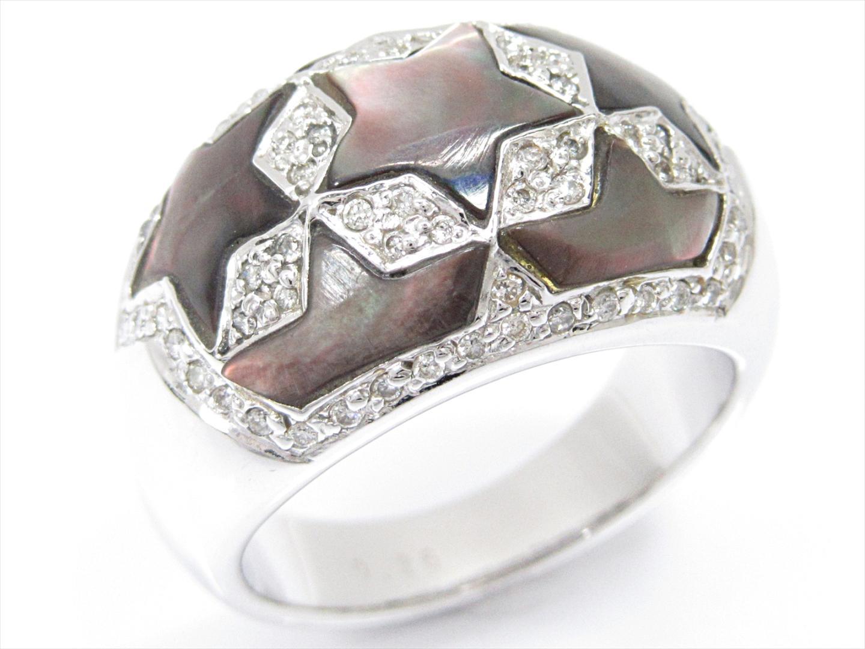 【中古】【送料無料】ジュエリー ダイヤモンドリング 指輪 K14(ホワイトゴールド)xダイヤモンド(0.26ct)xシェル | JEWELRY リング メンズ レディース 美品 ブランドオフ BRANDOFF
