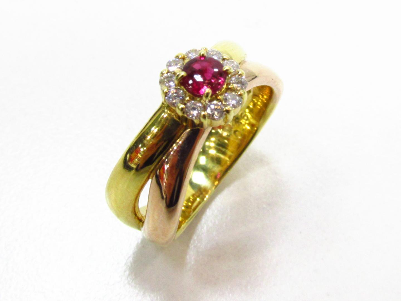 【中古】【送料無料】ジュエリー ルビー ダイヤモンド リング 指輪 レディース K18YG(750) イエローゴールド×ルビー(0.26ct)×ダイヤモンド(0.16ct) | JEWELRY リング 美品 ブランドオフ BRANDOFF