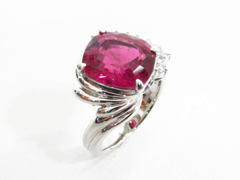 【中古】【送料無料】ジュエリー ルベライト ダイヤモンドリング 指輪 レディース PT900 プラチナ×ルベライト(4.73)×ダイヤモンド(0.22) | JEWELRY リング 美品 ブランドオフ BRANDOFF