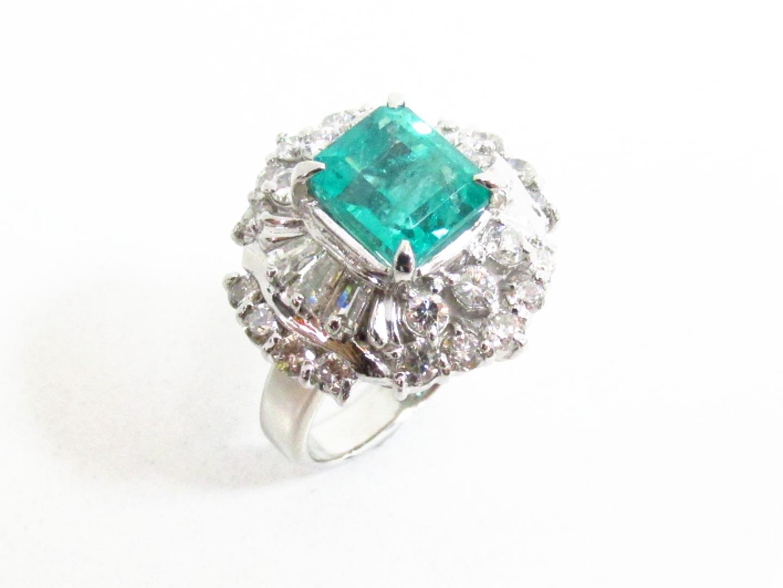 【中古】【送料無料】ジュエリー エメラルド ダイヤモンドリング 指輪 レディース PT900 プラチナ×ダイヤモンド(1.30)×エメラルド(2.234) | JEWELRY リング 美品 ブランドオフ BRANDOFF