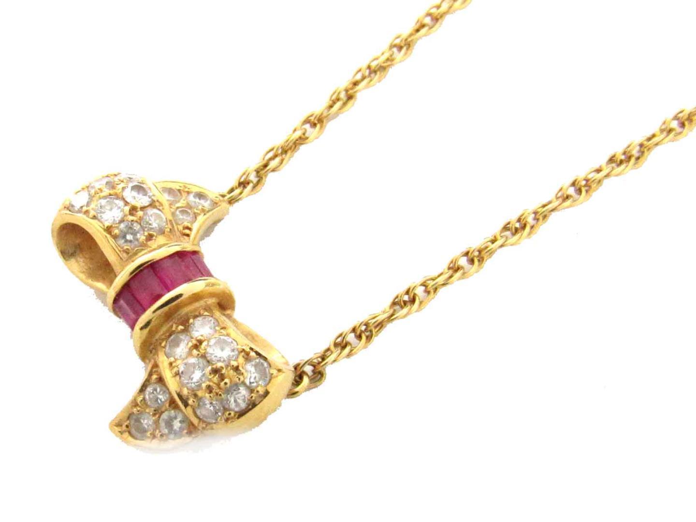 【中古】【送料無料】ジュエリー ルビー ダイヤモンド ネックレス レディース K18YG(750) イエローゴールド x ルビー(0.27ct) x ダイヤモンド(0.38ct) | JEWELRY ネックレス 美品 ブランドオフ BRANDOFF