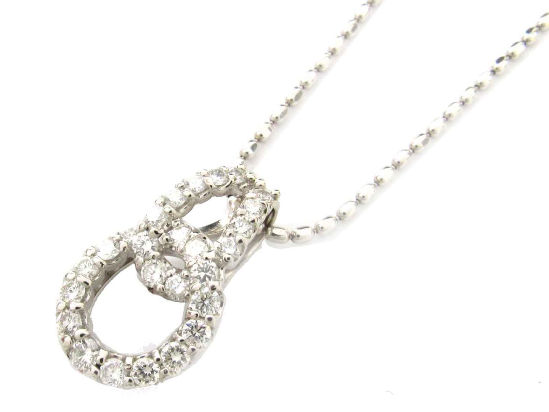 【中古】【送料無料】ジュエリー ダイヤモンド ネックレス レディース K18WG(750) ホワイトゴールド x PT900 プラチナ x ダイヤモンド(1.00ct) | JEWELRY ネックレス 美品 ブランドオフ BRANDOFF