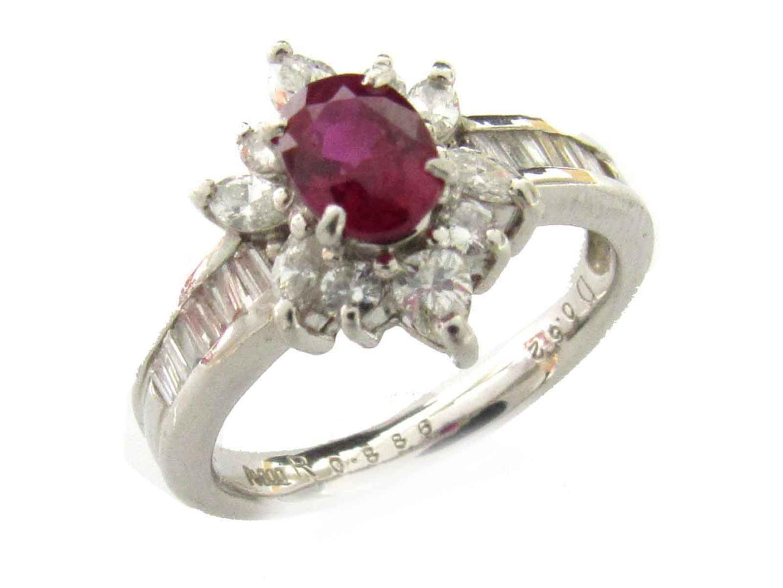 【中古】【送料無料】ジュエリー ルビー ダイヤモンド リング 指輪 レディース PT900 プラチナ x ルビー(0.886ct) x ダイヤモンド(0.62ct) | JEWELRY リング 美品 ブランドオフ BRANDOFF