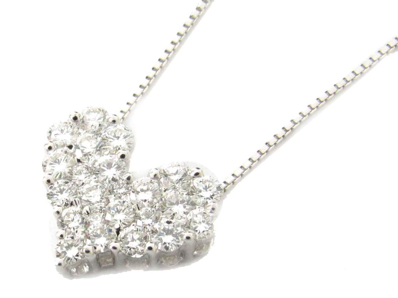 【中古】【送料無料】ジュエリー ハート ダイヤモンド ネックレス レディース K18WG(750) ホワイトゴールド x ダイヤモンド(1.00ct) | JEWELRY ネックレス 美品 ブランドオフ BRANDOFF