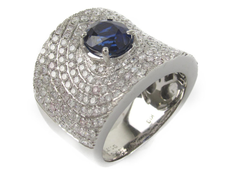 【中古】【送料無料】ジュエリー サファイア ダイヤモンド リング 指輪 K18WG(750) ホワイトゴールドxサファイア2.08/ダイヤモンド1.76ct | JEWELRY リング メンズ レディース 美品 ブランドオフ BRANDOFF