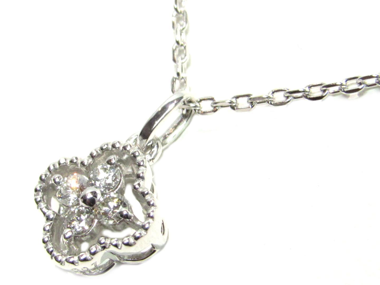 【中古】ジュエリー ダイヤモンドネックレス レディース K18WG(750) ホワイトゴールド×0.07ct シルバー×クリアー | JEWELRY ネックレス 美品 ブランドオフ BRANDOFF