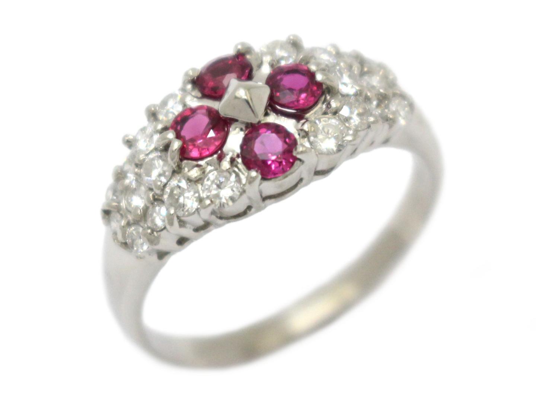 【中古】【送料無料】ジュエリー ルビー ダイヤモンド リング 指輪 レディース PT900 プラチナ×ルビー(0.68ct)×ダイヤモンド(0.62ct) レッド×クリアー | JEWELRY リング 美品 ブランドオフ BRANDOFF