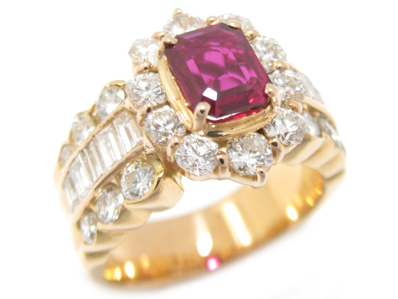 【中古】【送料無料】ジュエリー ルビー ダイヤモンド リング 指輪 K18YG(750) イエローゴールド x ルビー (1.051ct) x ダイヤモンド (2.40ct) | JEWELRY リング メンズ レディース 美品 ブランドオフ BRANDOFF